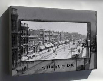 Canvas 24x36; Main Street 1890 Salt Lake City Utah