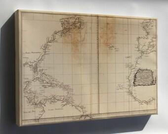 Canvas 24x36; Map Of Atlantic Ocean 1800