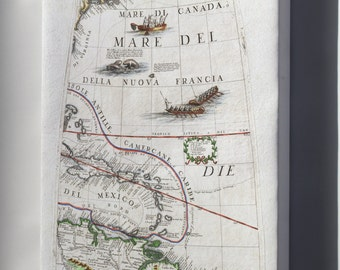 Canvas 16x24; 1688 Coronelli Globe Gore Map Of Ne North America, The West Indies, And Ne South America
