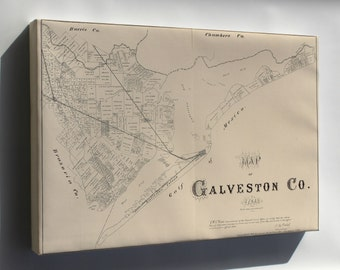 Canvas 16x24; Map Of Galveston Co., Texas 1879