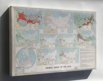 Canvas 16x24; Cia Map U.S.S.R Soviet Union 1961
