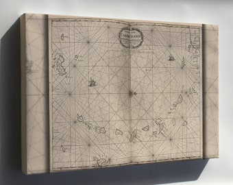 Canvas 16x24; Map Chart Of The Caribbean Islands 1700