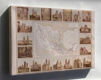 Canvas 16x24; Ecclesiastical Map Of Mexico 1885