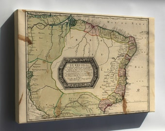 Canvas 16x24; Map Of Brazil 1656