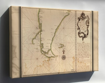 Canvas 16x24; Map Of Cape Horn In 1748