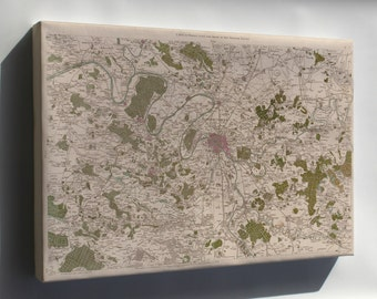 Canvas 16x24; Map Of Paris And Environs 1793