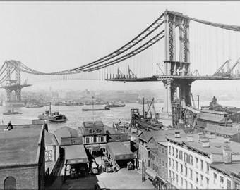 16x24 Poster; Manhattan Bridge Construction, Made March 23Rd, 1909