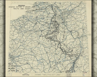 16x24 Poster; Map Jan 7, 1945 Battle Of The Bulge