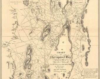 16x24 Poster; Chart Map Of Narraganset Bay, 1832