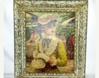 Framed Huldah Litho,Tavern on the Green,Huldah,Framed Print,Art Nouveau,Shabby Chic,Victorian,Lady,Fashion,Fraganard,Huldah,Ornate,1950s