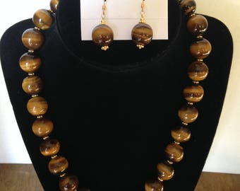 Tiger Eye Necklace and Earrings
