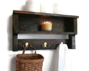 Rustic Chunky Bathroom Shelves-Pallet Wood Wall Shelf-2 Shelf Bathroom Shelves with Hooks-Rustic Wood Bathroom Shelf-Open Shelves Towel Rack