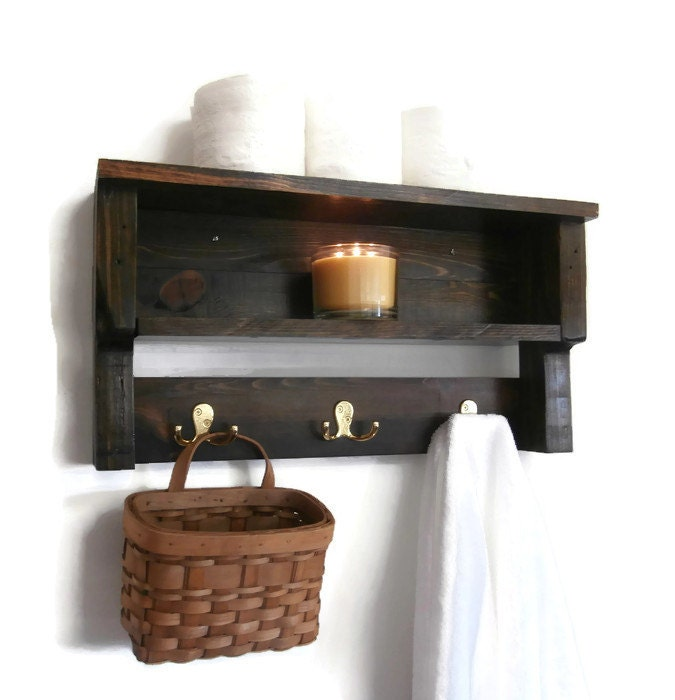 Rustic Chunky Bathroom Shelves Pallet Wood Wall Shelf 2 Shelf