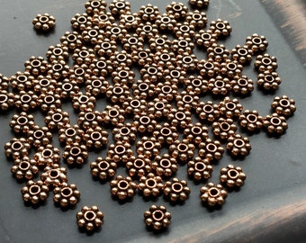 6mm Copper Daisy Spacer Beads Antique Copper Oxidized Package of 25 Pieces