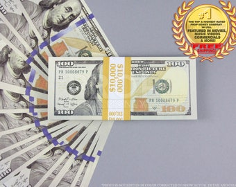Prop Money UPDATED New Style 100 Dollars Full Print Stack for Movie, TV, Video, Novelty and Photography