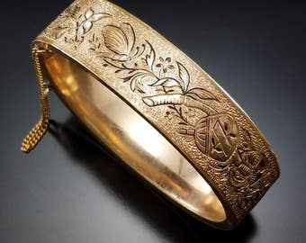 Antique Victorian Rolled Gold Bracelet Bates Bacon Butterfly Taille d'Epargne