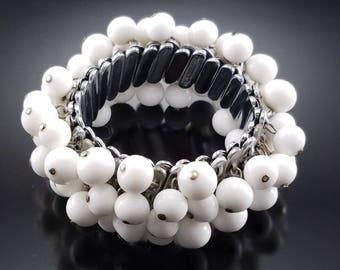 Vintage Milk Glass Expansion Bracelet Signed Japan Cha Cha Estate Jewelry