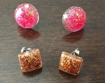 2 pair of glitter earrings gold and pink