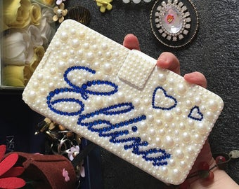 Lovely Heart Unique Diy Custom Name Bling Luxury Flip Slot Cards Holder Pearls Gems Wallet Leather Crystals Rhinestone Case for Mobile Phone