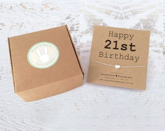 STERLING SILVER Happy 21st Birthday bracelet with heart charm Daughter Niece Friend Cousin Sister Granddaughter keepsake card & giftbox gift