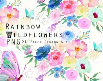 Watercolor PNG Clipart Wildflowers: Peonies, Roses, Flowers, Butterflies, Bouquets, Rainbow Digital Clip Art Set by PalaisFleurVintage