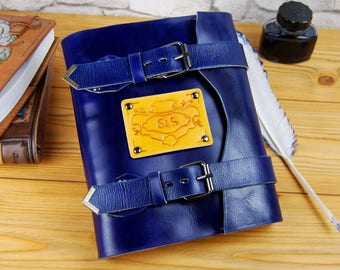 Personalized Notebook Leather Journal Sketchbook Travel Book Recipes Book Blue Journal Custom Gift Journal TiVegy Book