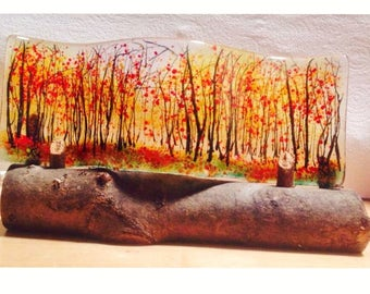 Fused glass autumnal  trees