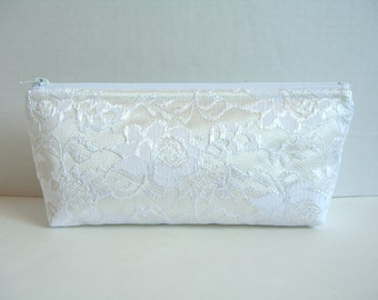 Ivory Satin And White Lace Clutch - Bridesmaid Makeup Bag - Ivory Wedding Clutch - Bridesmaid Clutch - Bridal Clutch - Ivory Lace Clutch