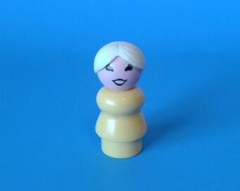 "Fisher Price Little People "" Grandma w/White Hair Bun "" 1970's"