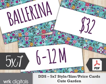 Dot Dot Smile Style Cards 5x7 Signs, Size Card, Price Sign, Fashion Consultant, Cute Garden Design, PRINTABLE, INSTANT DOWNLOAD