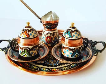 Turkish Greek Coffee Serving Set-Coffee Porcelain Cup&Saucer,Coffee Maker Pot,Set