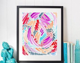 Bright Abstract Watercolor Wall Art Print