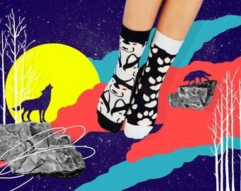 Balto Socks, Mismatched Socks, Colorful socks for women and men, Wolf Socks, Paw Socks, Animal socks, Women Socks, Free delivery!