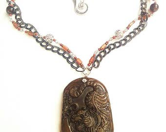 Wild tiger gemstone carved tiger necklace handmade jewelry beadwork gift for her Jade carved tiger brown and black necklace pendant necklace