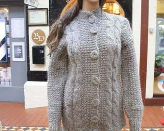 grey cardigan jacket natural undyed Irish wool Aran fisherman hand knit