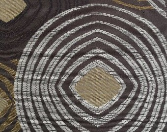 Upholstery Fabric Brown Carmel Tan Cream Circle Geometric Polyester BTY