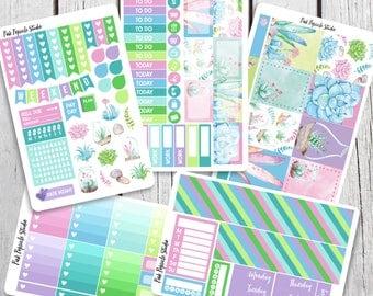 Succulents Deluxe Weekly Kit Planner Stickers Designed for the Erin Condren Life Planner Vertical