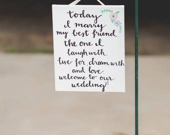 Best Friend Wedding Welcome Sign