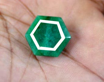 100% Natural emerald Zambia Hexagon Shape AAA Quality EGL Certified  15.1 Cts. 19x19x6 mm MMA