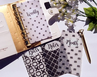 Black and White Brush Strokes Vellum Planner Dashboards For Personal & A5 Ringbound Planners R119
