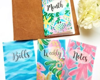 Preppy Beach Vellum Planner Dashboards For TN's and Midori Travelers Notebook V135