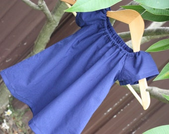 Toddler Dress | Navy Blue Cotton  Party Dress | Peasant Dress | Made in Australia