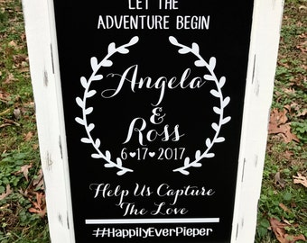 Chalkboard Easel - Welcome Wedding Chalk Board Sign // Wedding Chalk Board Easel // Let The Adventure Begin // Help Us Capture The Love