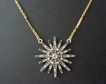 Star Pendant Starburst Pendant Necklace Art Deco Necklace Great Gatsby Wedding Bridal Art Nouveau Vintage Necklace Downton Downtown Abbey