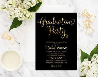 Black Gold Graduation Party Invitation, Printable Graduation Invitation, Graduation Celebration Invitation, Faux Gold Foil Grad Invitation