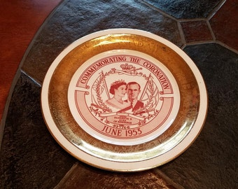 Commemorating the Coronation June 1953 plate - 22kt Gold