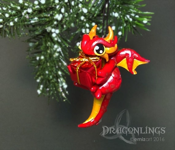 Polymer Clay Micro Gem Dragonling Ornament with Present