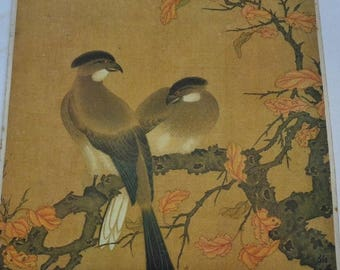 061-- Vintage reproduction from Chinese Song Dy. painter Zhao Boju 趙伯駒款 pair of birds on branch