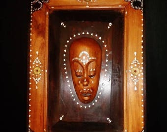Teak Bali mask--340. Vintage Indonesian Rosewood / teak framed meditation mask decorated w. Chinese coins and mother of pearl
