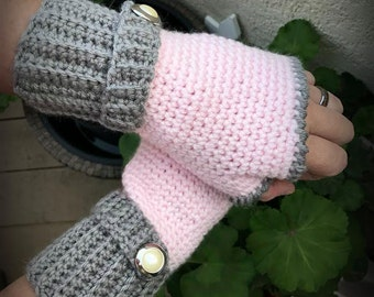 Pink and Gray Fingerless Gloves